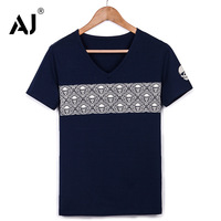 2014 Men's V-neck T-shirt skull print short-sleeved T-shirt men's slim male skull shirt M-XXXL 8 colors