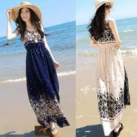 New 2014 Fashion Women Summer Dress Chiffon Retro Long Maxi Dress Bohemia Shivering Beach Long Dress Free Shipping