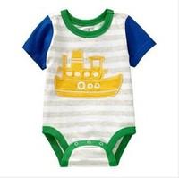 2014 Baby Boy Infant Rompers  6-24M  Short Stripe Jumpsuit   Newborn Baby clothes