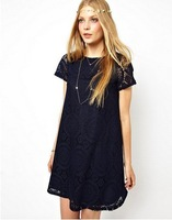 Ladies Fashion knee length Crochet blouses shirt  Lace Loose Festival Boho Hippie Dress Black White green 8 10 12