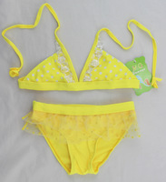 Summer Dress 2014 Children's Swimwear New  Lace Edge Bikini Swimwear Polka Dot Printing Swimsuit Girls 2PCS Top Sell