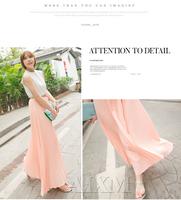 2014 women's ultralarge bohemia beach full cloth  bust skirt pleated chiffon skirt summer fairy women skirts drop shipping