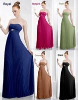 2014 romantic strapless Neckline Sleeveless chiffon gown floor-length elegant Bridesmaid Dresses Free Shipping vestido de festa