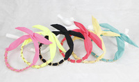 Free Shipping Fluorescent  color  Metal Metallic Wire Rabbit Bunny Ear Ribbon Headband  twist bowknot  Hair Head Band Bow