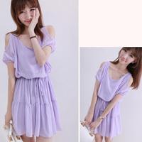 Summer 2014 New Purple Sleeveless Brief Strapless Lady Dress Korean Style Refreshing Cascading Ruffle Dress WCDR999