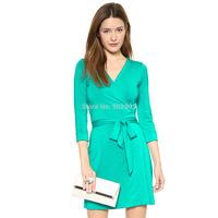 Fashion three quarter sleeve peacock green mercerizing elastic knitted belt slim one-piece dress haoduoyi