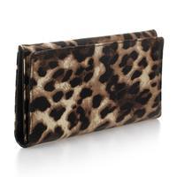 Ladies Purse Wallet Clutch Handbag PU Brown Leopard Evening Fashion