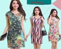 New summer 2014 L-4XL Plus Size short sleeve mini dress, Flower Peacock Print dresses vintage Floral dress for women, HFF015