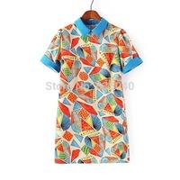 2014 summer female one-piece dress turn-down collar short-sleeve geometry print chiffon one-piece dress short