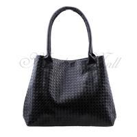 Women Handbag Tote Messenger Bag PU Leather Braided Plaid Fashion Black