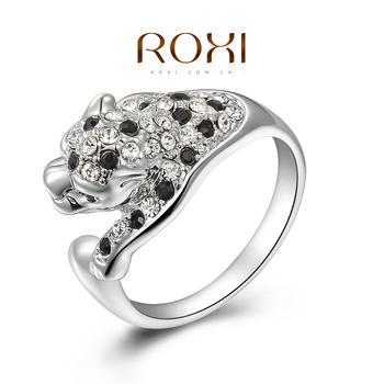Roxi элегантное женское кольцо ручной работы, выполнено из белого золота с трех разовым золотым напылением, украшенное австрийскими кристаллами, выгровировка леопарда. 100% качество