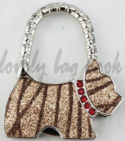 (2PCS/LOT) free shipment high quality L1126 coffee zebra glitter shining dog purse handbag hook bag hanger holder hook bag hook(China (Mainland))