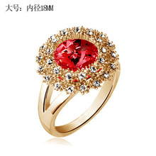 Classical Desig Wedding Rings CZ Diamond Inlaid Crystal Paved Gold Plated Brand Jewelry For Women Gift Ruby Finger Ring