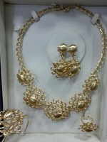 Summer Hot  selling ! New arrival Costume jewelry set ,18K gold plated  necklace,earrings,bangle and ring