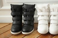 Free Shipping women's newly Isabel Marant Wedge Boots fashionable Sneakers Shoes White & Black US 4-9( EURO 35-40)