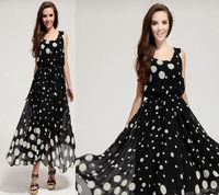 Women Sexy Polka Dot Long Dress Sleeveless Chiffon Party Dresses Summer Maxi Vintage Dress