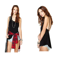 JR8325  Unique Design Summer 2014 Women Halter Back Cross Strap Sexy Vest Blouse