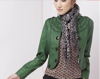 free shipping Women green  Leather Coat Bomber Jacket