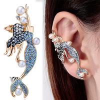 Blue Pearl Mermaid Cartilage Wrap Ear Cuff Stud Earring  For Women Fashion Statement Earrings 2014 Jewelry Wholesale Top Quality