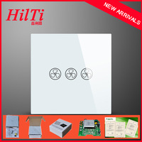 China Hilti EU 3 Speed Fan Switch Touch Screen Tempered Glass Panel,Waterproof&Fireproof,Imported American IC,AC110-240V,CE