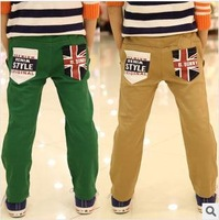 HOT! 2014 Wholesale 4Pcs/lot New arrival Kids flag patch casual trousers Children spring autumn 100% cotton long pants C3436