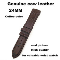Wholesale - 1pcs High quality 24MM genuine cow leather Watch band  watch strap coffee color for valuable wrist watch -061701