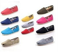 12 Colors 10 Size Man / Woman Lazy Canvas Shoes Casual Fashion Flat Shoes Free Shipping SHOE-71