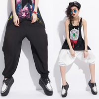 Drop/2014 New  European And American Style Women's Chiffom Pleated Loose Lightweight Mid Capris Blouse/s Free Shipping