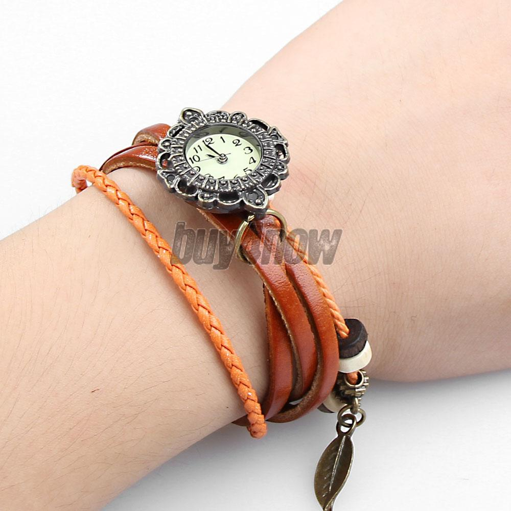 Light Brown Lady Weave Wrap around Faux Leather Quartz Bracelet Wrist Watch 1STL