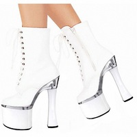 FREE SHIPPING 2014 LD-P1814 Sexy White Thick Heel Stage Performance Lace Up Aside Zipper 18CM High Short Boot Cosplay Shoes