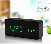 Green LED Display Black Oak Wooden Wood Alarm Clock with Time Temperature 3 Alarms AC Adapter Sound Control