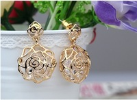 Retail hot Sales Jewelry 2014 new fashion alloy earrings colorful Rose flowers for women gift ER-037
