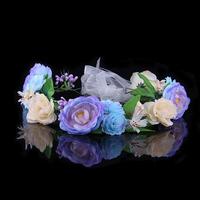 Wholesale 1pcs 2014 New Popular 3 Color Bohemia Bridal Girl Artificial Silk Wedding Tiaras Flower Crown Wreath For Women