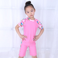 (2pcs/lot)  Summer Cartoon Pattern Girls Swimsuit Swimming Trunks,High Quality Polyester Two-piece Children's Surfing Clothing