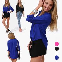 2014 European and American temperament v-neck Leisure women long sleeve Solid chiffon shirt 2X E2731