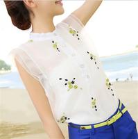 free shipping!New Women organza  embroidered  Blouse  retro flounced chiffon shirt