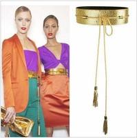 Gold Silver Black Wide Cummerbunds PU Belts for Women Long Strap Tassels Cintos Femininos Vintage Cinturones Mujer Lady Ceinture