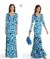 Luxurious Italian Brands Women's Long Sleeve V Neck Geometric Print Elegant Jersey Silk Dress XXL Free Shipping