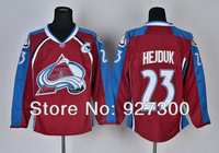 Colorado Avalanche #23 Milan Hejduk Burgundy Home C Patch Ice Hockey Jerseys Winter Authentic Jersey Free Shipping