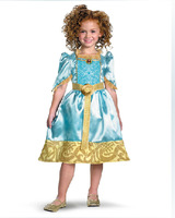 Brave Merida children's clothing Cute Little Girl princess skirt Fancy Dress Party costumes D-1538