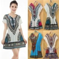 New 2014 Summer Dress Fashion Women Loose Silky Floral Printing Batwing Sleeve Casual Dress Elastic Waist Beach Sundress 04327