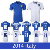 World Cup ITALY Soccer Jerseys Kit italy jersey 2014 home blue soccer jersey shirt away italy BALOTELLI PIRLO del piero jersey