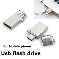 OTG Flash Drive 16GB Metal buckle 8GB USB Memory Card Stick Pen Drive 32GB Micro Data external storage Pendrive Smart Phone#3015