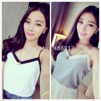 2015 New summer women fashion condole belt tank top South Korean style chiffon Color matching small v-neck condole belt vest