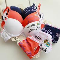 FREE SHIPPING wholesale lolita style young girls cotton cute character underwear sets push up lace women bra sets