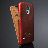 Retro Business Wax Pattern Heat Setting Leather Case for Samsung Galaxy S5 i9600 Flip Smart Cover Shell Case for Samsung i9600