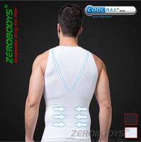 New zerobodys body shaper men vest tank top COOLMAX Active fabric  tight abdomen  absorbent underware clothing white and black