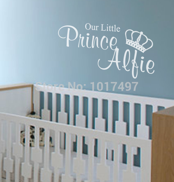 Free shipping Our Little Princess / Prince Wall Stickers For Kids , personalised wall stickers with kids customized name ,C2071(China (Mainland))