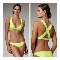 Wholesale Beach Fashion 2014 Sexy V Neck Bandage Bikini Set Bandage Bathing Suit Bodycon Bodysuit HL Bandage Bikini Swimsuit