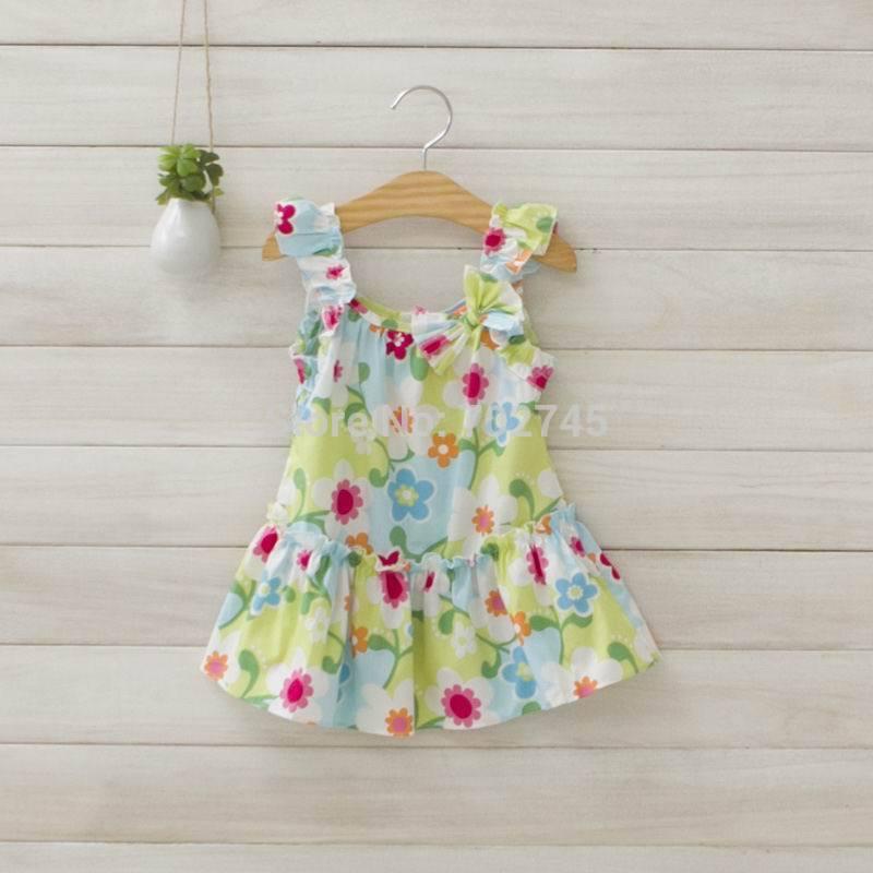 Girl Fresh Sweet Floral Dress 2014 Summer Girl Slip Dresses 1433(China (Mainland))